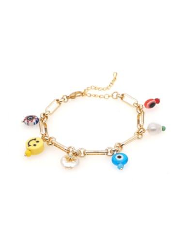 Stainless steel Shell Multi Color Smiley Ethnic Bracelet