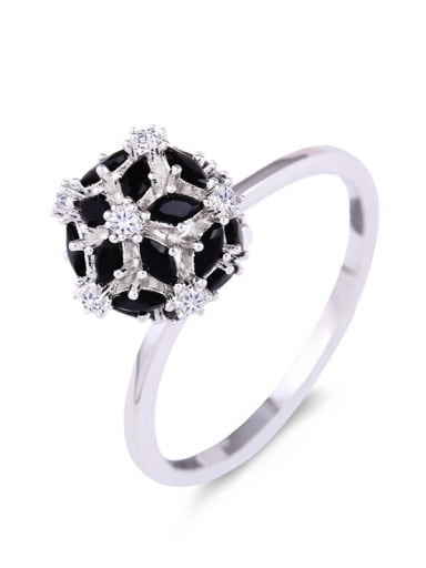 Brass Cubic Zirconia Ball Statement Cocktail Ring