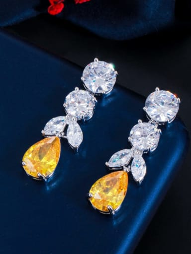 yellow Brass Cubic Zirconia Water Drop Luxury Cluster Earring