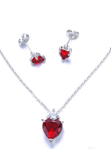 Alloy Minimalist Heart  Cubic Zirconia Earring and Necklace Set