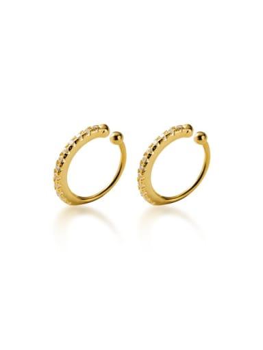 925 Sterling Silver Rhinestone Round Minimalist Ear Cuff Earring