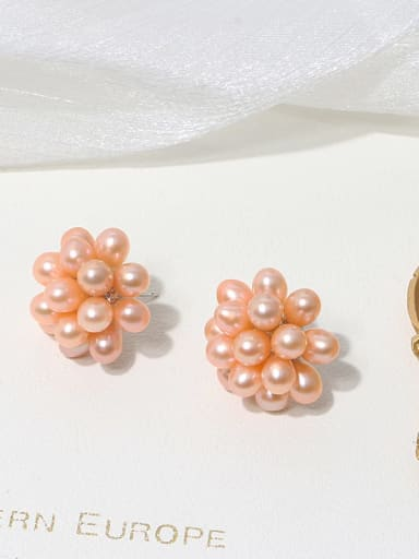 Orange Earrings Brass Freshwater Pearl Flower Vintage Band Ring