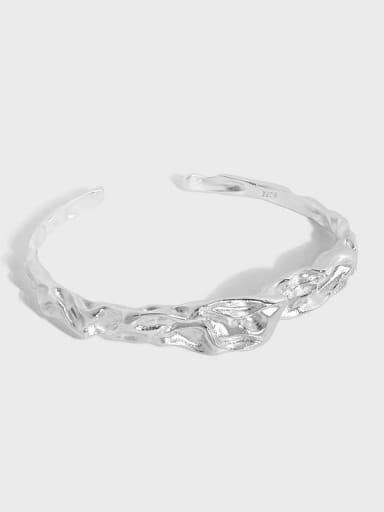 925 Sterling Silver Irregular Minimalist Cuff Bangle