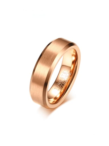 Rose gold (brushed surface) Stainless steel Geometric Minimalist Band Ring