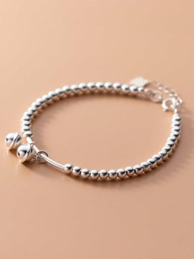 925 Sterling Silver Bead Bell Minimalist Beaded Bracelet