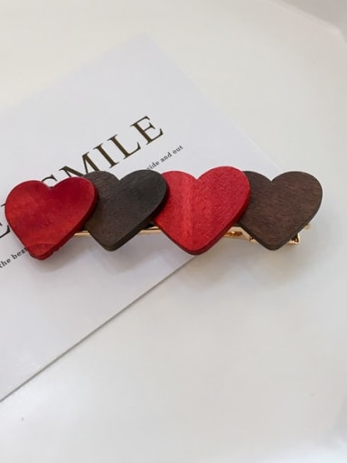 Four love a Alloy Wood Minimalist Geometric  Hair Barrette