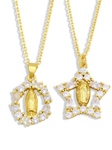 Brass Cubic Zirconia Heart Hip Hop Regligious Necklace