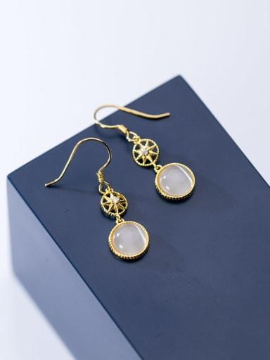 925 Sterling Silver Cats Eye Geometric Minimalist Hook Earring
