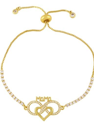 B Brass Cubic Zirconia Letter Hip Hop Adjustable Bracelet