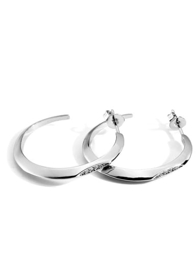 Platinum Circle Earrings Brass Cubic Zirconia Geometric Minimalist Hoop Earring