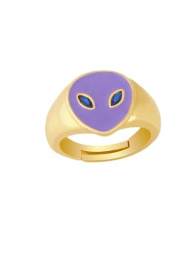 purple Brass Enamel Heart Minimalist Band Ring