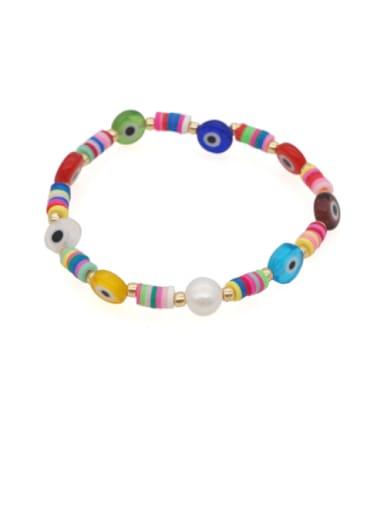 Stainless steel Glass Bead Multi Color Irregular Minimalist Stretch Bracelet