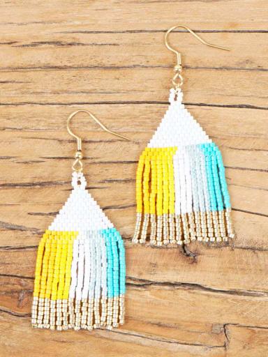 Stainless Steel Miyuki Beads Tassel Bohemia Pure Handmade  Earring