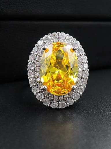 Yellow diamond ring Copper Cubic Zirconia Oval Luxury Statement Ring