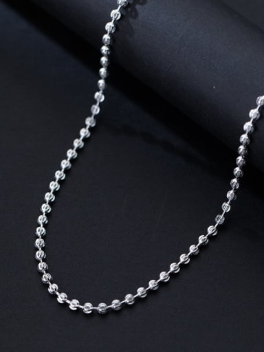 925 Sterling Silver Round Minimalist Beaded Necklace