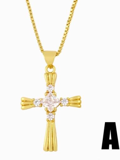a Copper Cubic Zirconia Cross Vintage Pendant Necklace