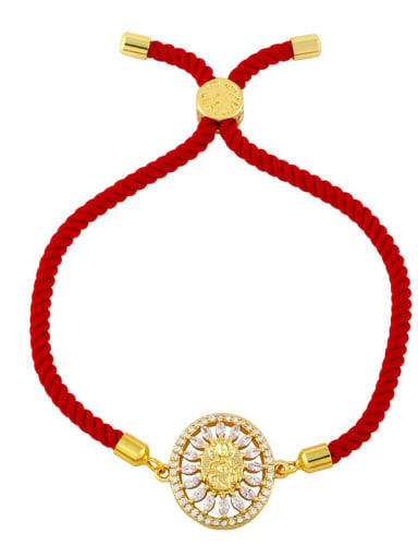 Red rope D Brass Cubic Zirconia Religious Vintage Woven Bracelet