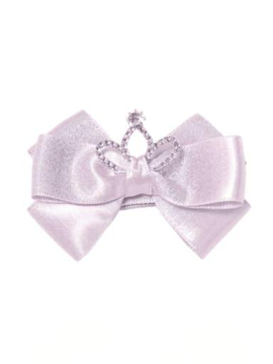 2 elegant purple Alloy Fabric Cute Bowknot  Rhinestone White Hair Barrette