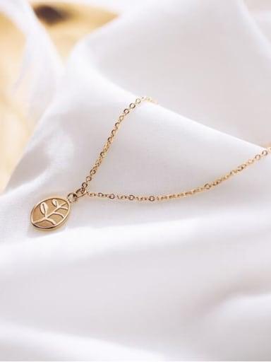 Titanium Oval leaf Necklace