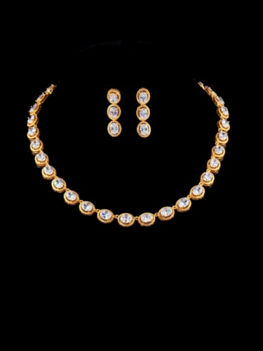 white Brass Cubic Zirconia Luxury Round Earring and Necklace Set