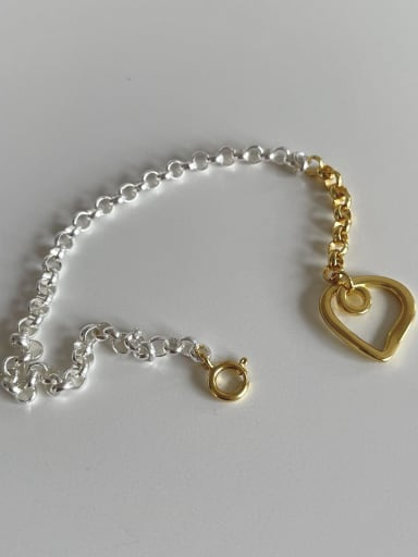 925 Sterling Silver Hollow Heart Vintage Link Bracelet