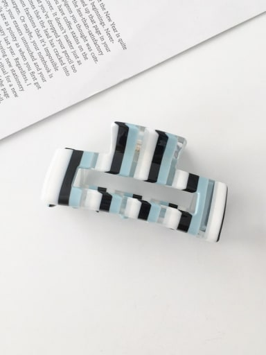 F143 Cellulose Acetate Minimalist Blue striped hollow Alloy Jaw Hair Claw