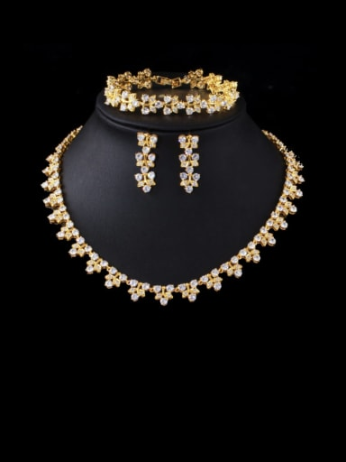Brass Cubic Zirconia Luxury Leaf  Earring Braclete and Necklace Set