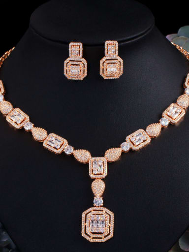 Champagne gold 2-piece set Brass Cubic Zirconia  Luxury Geometric Ring Earring Braclete And Necklace Set