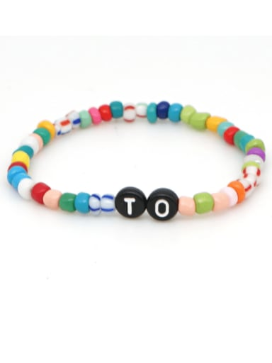 B B190074A Stainless steel MGB  Bead Multi Color Letter Bohemia Stretch Bracelet