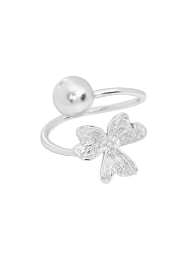 Silver [11 adjustable] 925 Sterling Silver Bead Clover Cute Band Ring