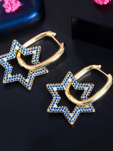Golden Blue Brass Cubic Zirconia Geometric Luxury Cluster Earring