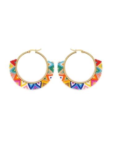 Multi Color Miyuki beads  Geometric Bohemia  Pure Handmade Earring