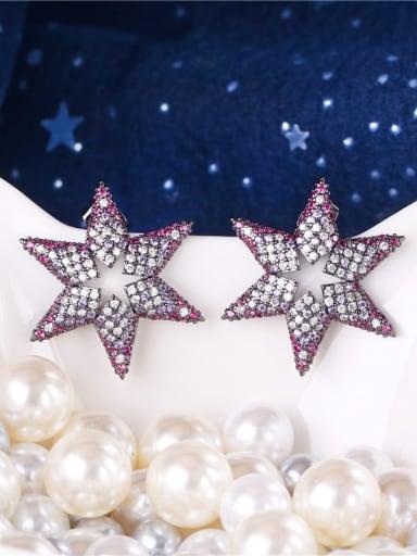 E0933 Brass Cubic Zirconia Star Dainty Cluster Earring