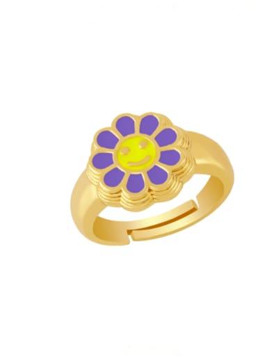 purple Brass Enamel Smiley Vintage Band Ring