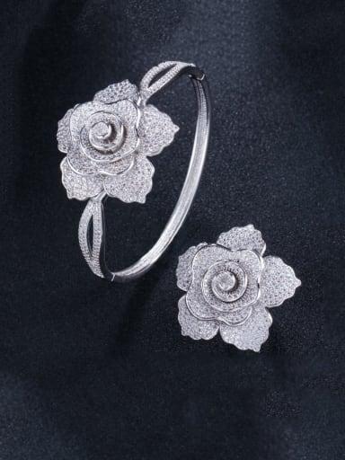 Platinum US 7 Brass Cubic Zirconia Luxury Flower  Ring and Bangle Set