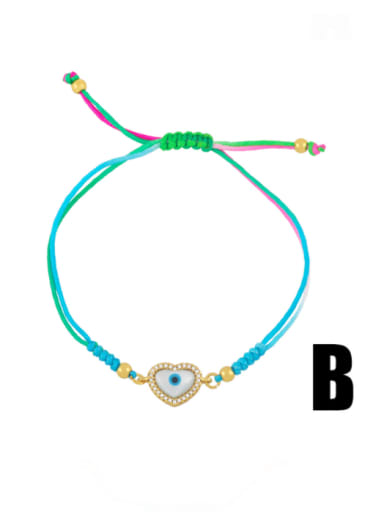 B Brass Enamel Evil Eye Bohemia Adjustable Bracelet