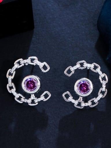 purple Brass Cubic Zirconia Geometric Luxury Stud Earring