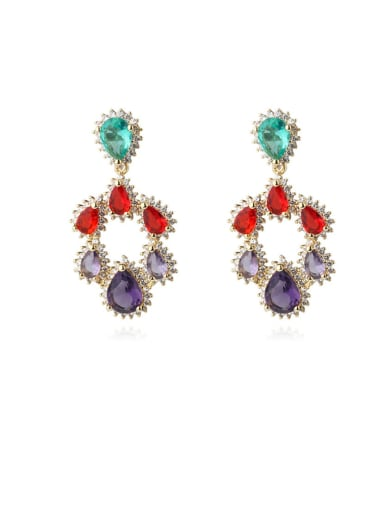 gold Brass Cubic Zirconia Multi Color Water Drop Luxury Chandelier Earring