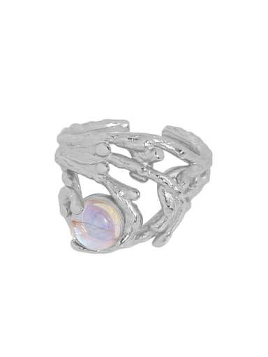 Platinum [14 adjustable] 925 Sterling Silver Cubic Zirconia Irregular Ethnic Stackable Ring