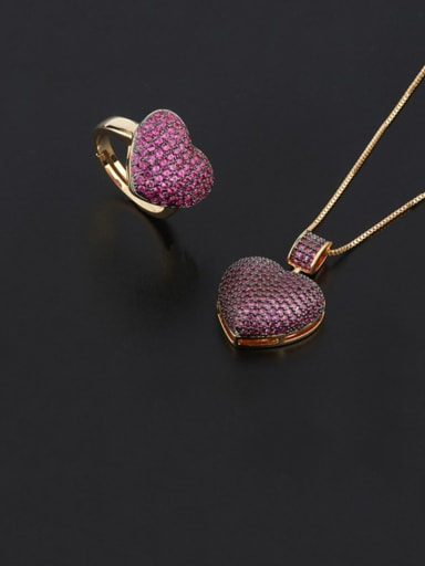 Brass Cubic Zirconia Vintage Heart  Ring and Necklace Set