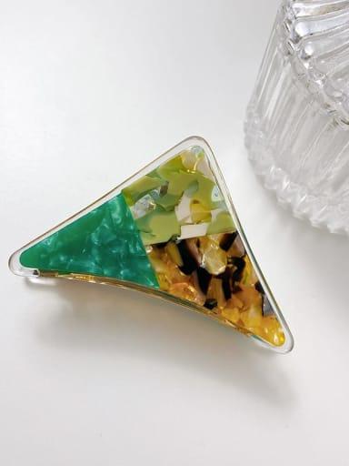 Dark green color blocking 7cm Cellulose Acetate Minimalist Triangle Alloy Multi Color Jaw Hair Claw