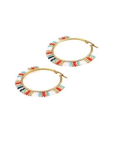 Multi Color Miyuki beads Geometric Bohemia Pure handmade Huggie Earring