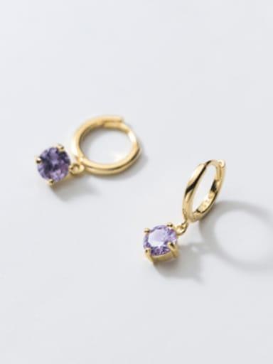 round Purple Diamond 925 Sterling Silver Cubic Zirconia Geometric Minimalist Huggie Earring