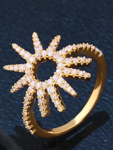golden Brass Cubic Zirconia Flower Luxury Cocktail Ring