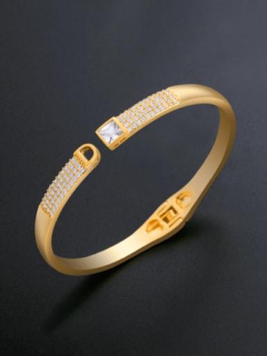 Brass Cubic Zirconia Geometric Ethnic Band Bangle
