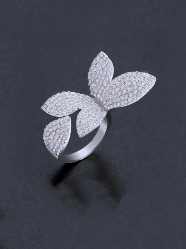steel Brass Cubic Zirconia Butterfly Statement Cocktail Ring