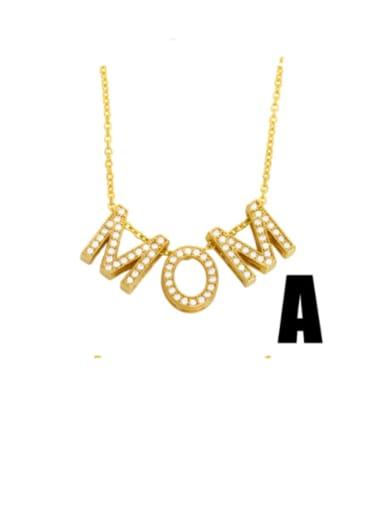 Brass Cubic Zirconia Minimalist MOM Letter  Pendant Necklace