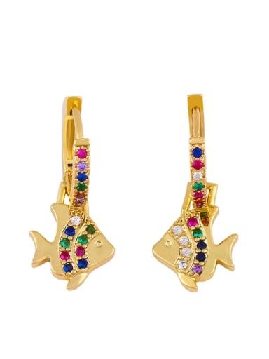 fish Brass Cubic Zirconia Tree Vintage Huggie Earring