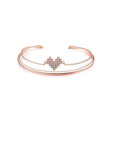 Copper Cubic Zirconia White Heart Minimalist Bangles