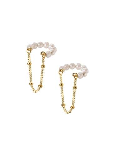 925 Sterling Silver Imitation Pearl Geometric Minimalist Drop Earring